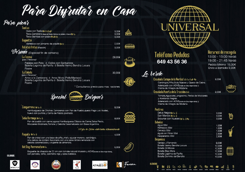 Carta Cafe Universal Zamora