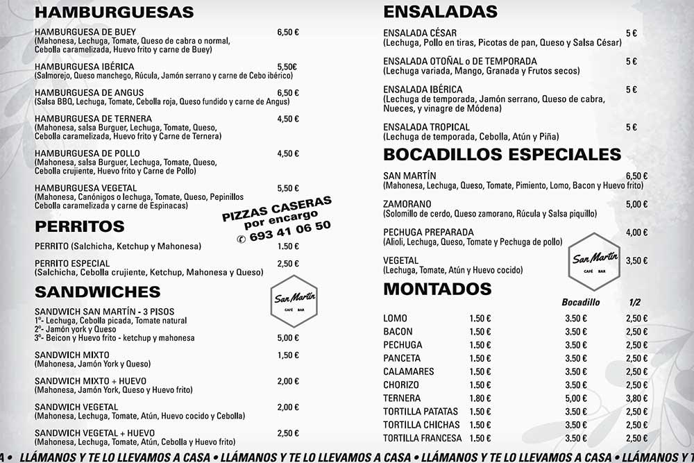 Café-Bar San Martín Monfarracinos. Zamora para llevar. Zamoraparallevar.es