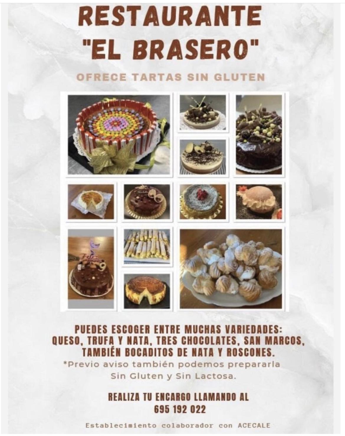 Restaurante El Brasero Zamora. Tartas sin gluten y sin lactosa